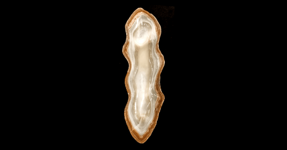 taupe border onyx bowl vertical view