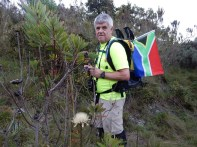 Johan Smit flying the South African Flag