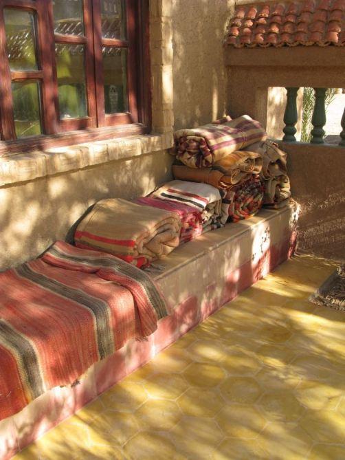 Blankets outside at the Yasmina Hotel
