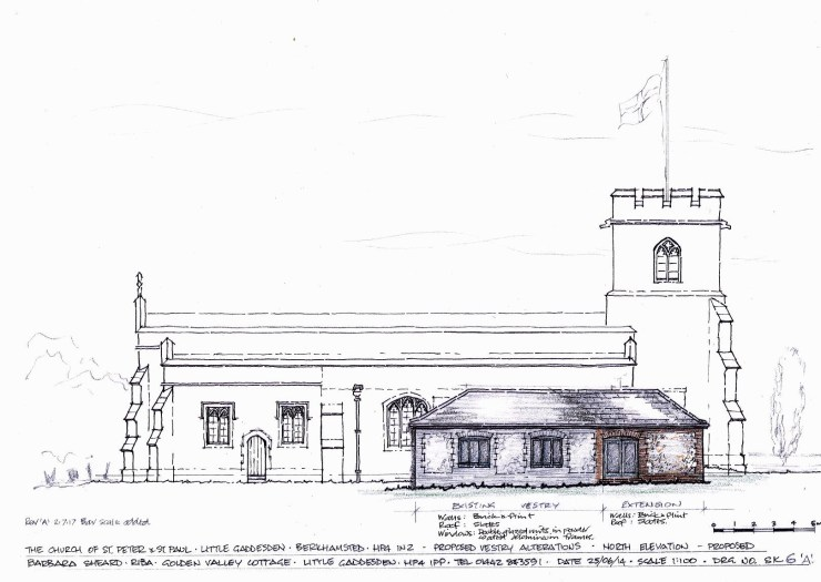 North elevation of the church and proposed vestry as altered.