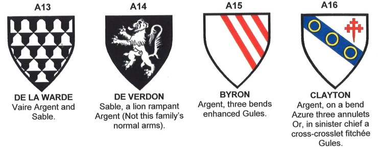Coats of Arms of de la Warde, de Verdon, Byron and Clayton