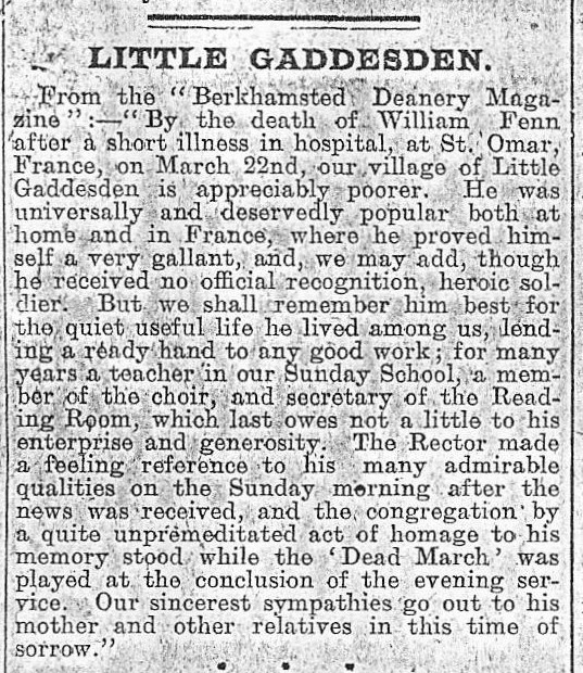 Facsimile of William Fenn's obituary in The Hemel Hempstead Gazette