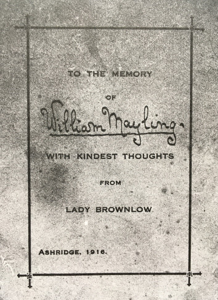Photo of condolence card from Lady Brownlow