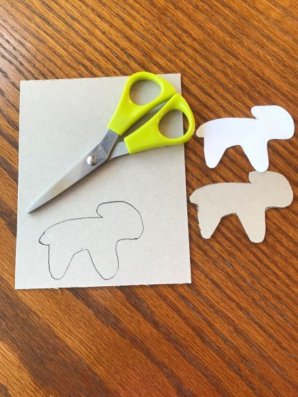 Photo of sheep drawn on card, and scissors