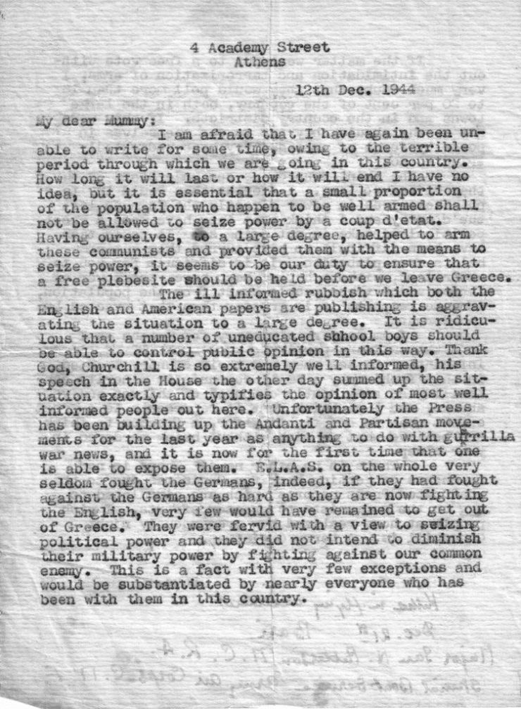 Major Ian Paterson - Letter 12-12-44 page 1