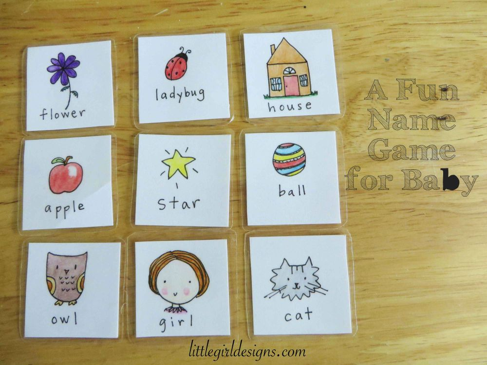 Square cards with sketches of objects for baby to name like cat and girl.
