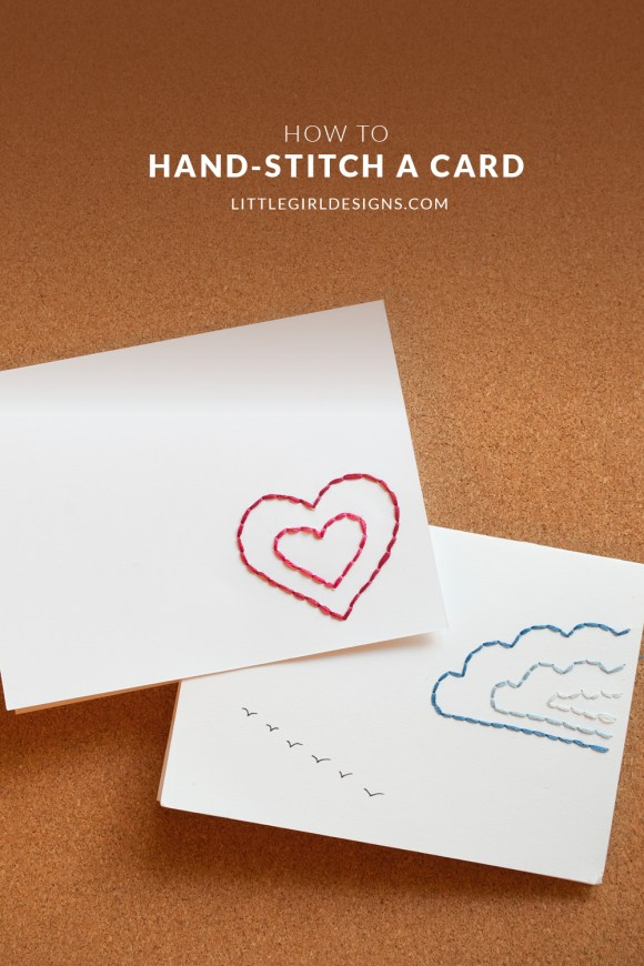 Handstitch a card, photo of two hand-stitched cards
