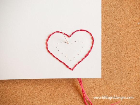 hand-stitch a card photo of stitching a heart