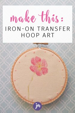 What a great idea! I never thought to use iron-on transfers to make pretty hoop art. All I have to do is print the image I want, iron it on the fabric and then add some quick embroidered details if I want. Sooooo easy! I love simple craft projects and think I'll make some of these for gifts this year.