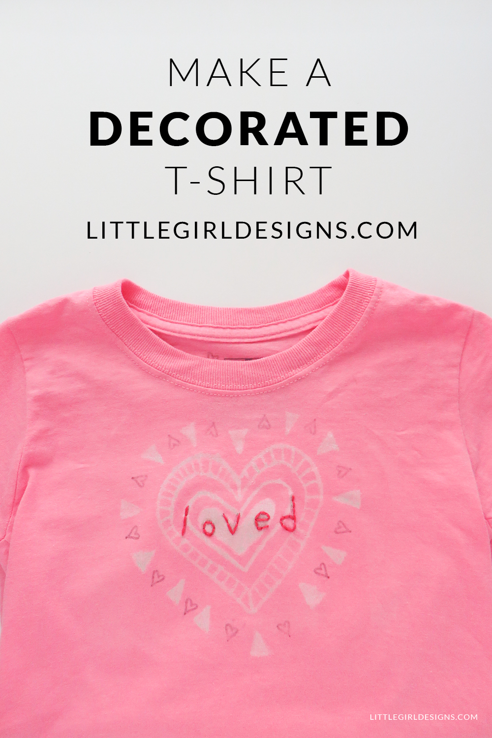 Make a Decorated T-shirt - Use a paint pen, iron-on transfer pen, and embroidery floss to create a one-of-a-kind t-shirt! @ littlegirldesigns.com