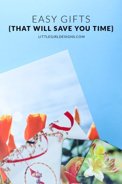 Easy Christmas Gifts {That Will Save You Time!} - Are you looking for a Christmas gift that is unique but won't take forever to put together? I'm sharing a couple of gifts I made in minutes this year + a cute Christmas card that also was super easy to make. via littlegirldesigns.com