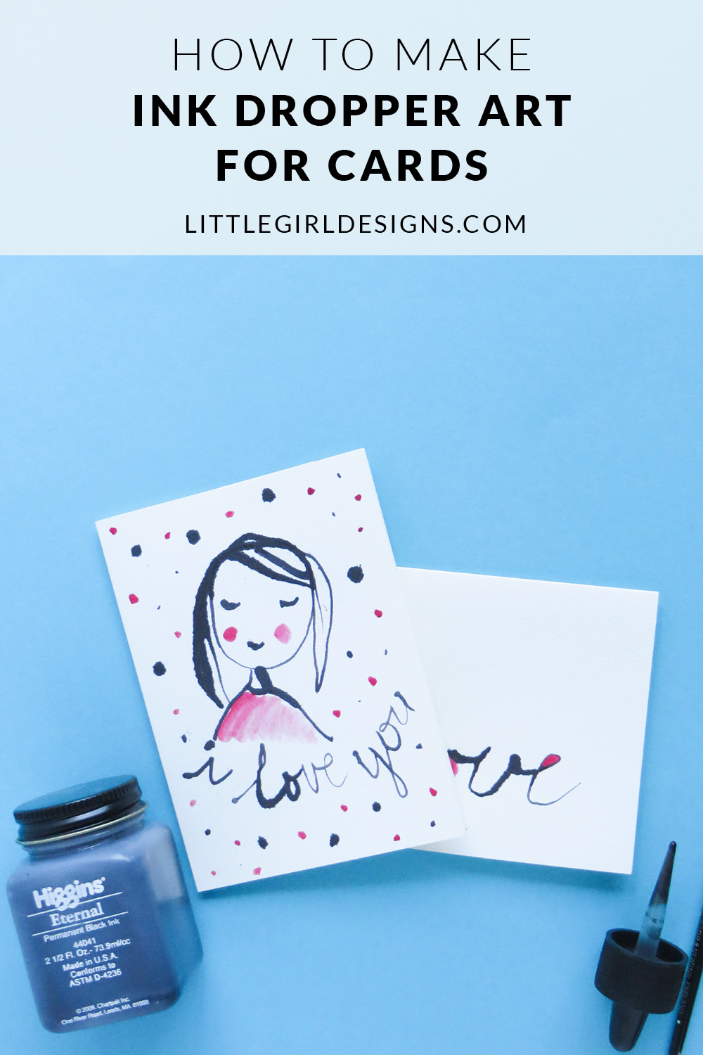 Ink Dropper Art for Cards - Have you ever made ink dropper art? It's really easy and a great technique to use for card-making. Learn more at littlegirldesigns.com