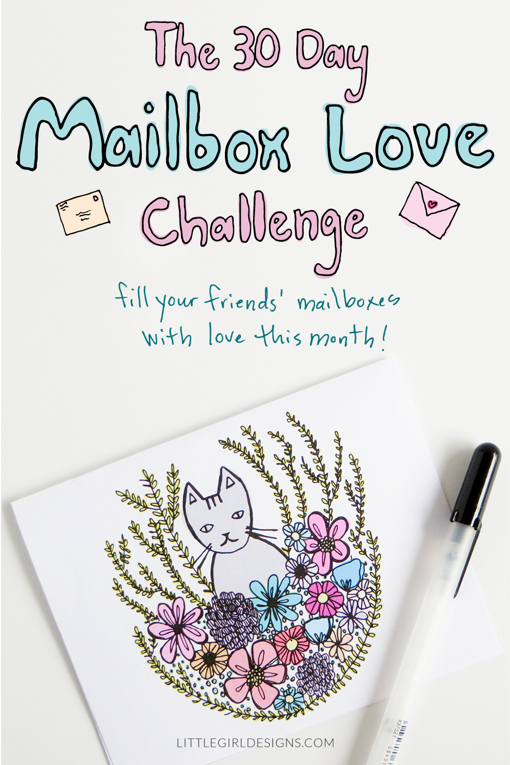 Sign up for the free 30 Day Mailbox Love Challenge and receive a cute printable calendar and stationery. You'll get to shower your friends and family with love in the form of cards and letters this month! Get more ideas for creative snail mail at Little Girl Designs.