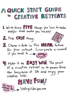 Creative Retreat 101 - Have you ever wondered what a creative retreat is or how in the world you could take one with your current schedule? Click this image to see my video blog on how to get started TODAY with taking creative retreats. You are going to LOVE these!