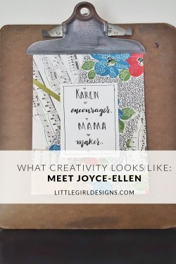 The What Creativity Looks Like series continues this week with Joyce-Ellen, the maker behind BindingRewinding. She makes all kinds of treasures from necklaces to mini happy mail. Learn more about her thoughts re: creativity in this post! :)
