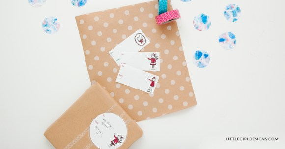 Ever wonder how a bundle of printables is made? This is a behind the scenes look at the process of making gift tags, wrapping paper, bunting, and a coloring sheet! This gift wrap bundle is perfect for Christmas, birthdays, and any time you want to send a sweet gift.