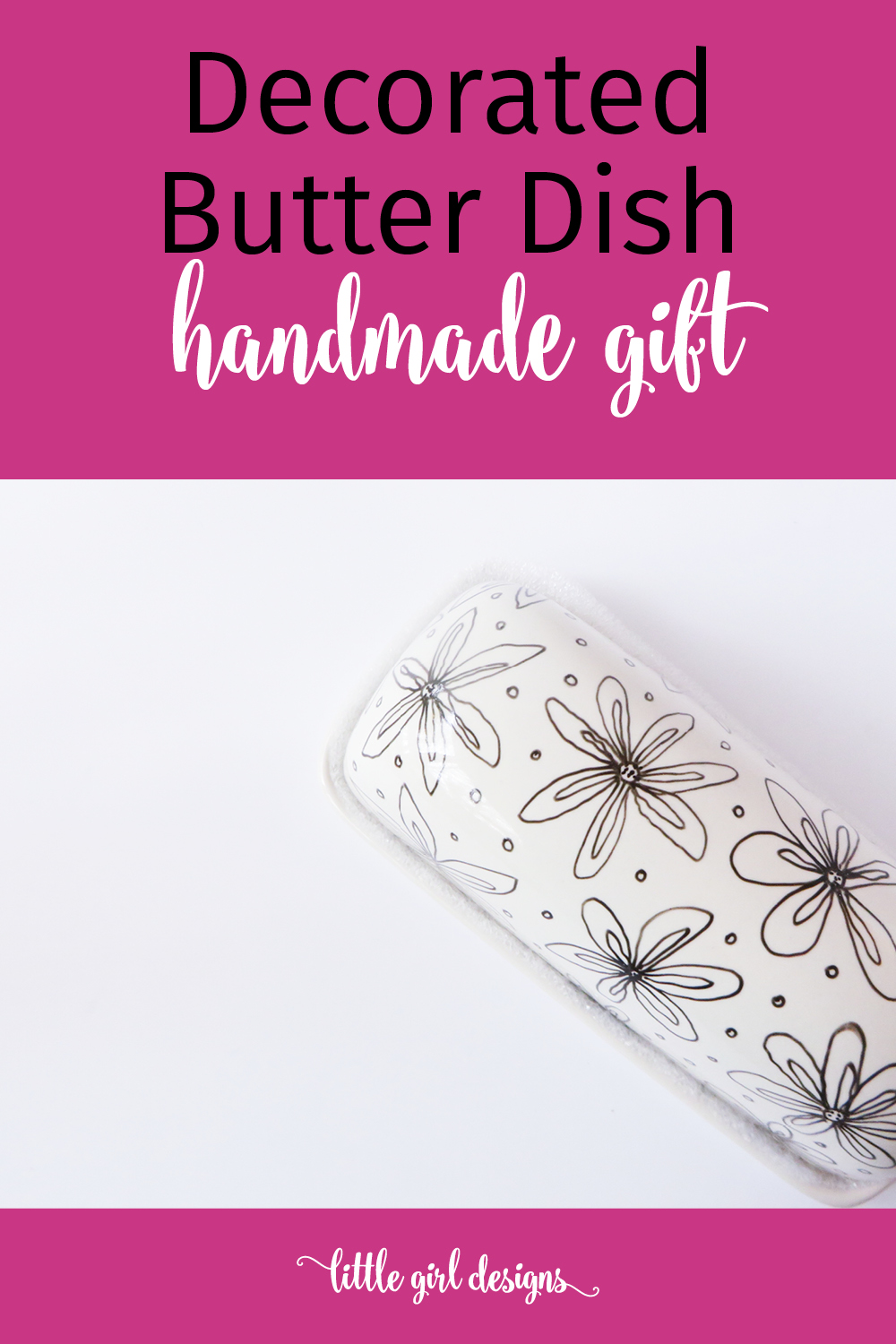 This super cute doodled butter dish would make a great housewarming, Christmas, or birthday present. All you need is a porcelain pen and plain butter dish!