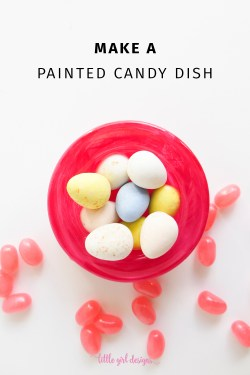 So cute! Transform any small glass dish with glass paint. It's really simple to use and the result is really cute! I had so much fun making a painted candy dish with this technique. So much fun.