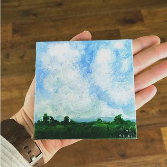 Super cute mini landscape! What a great idea to use a mini canvas to sneak in more creative time!