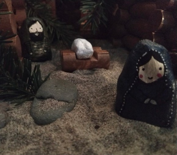 Here's a glimpse of our nativity scene. All homemade and gathered near our home.