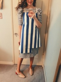 vintage puff sleeve dress, jacquemus asymetric hem dress, rejina pyo shoes.