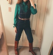 ruffle blouse, lee overalls, & belt all thrifted, vintage frye boots bought on ebay in 2004.