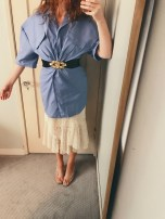 jacquemus l'uniforme dress, thrifted belt, zara skirt & vintage clear plastic heels.