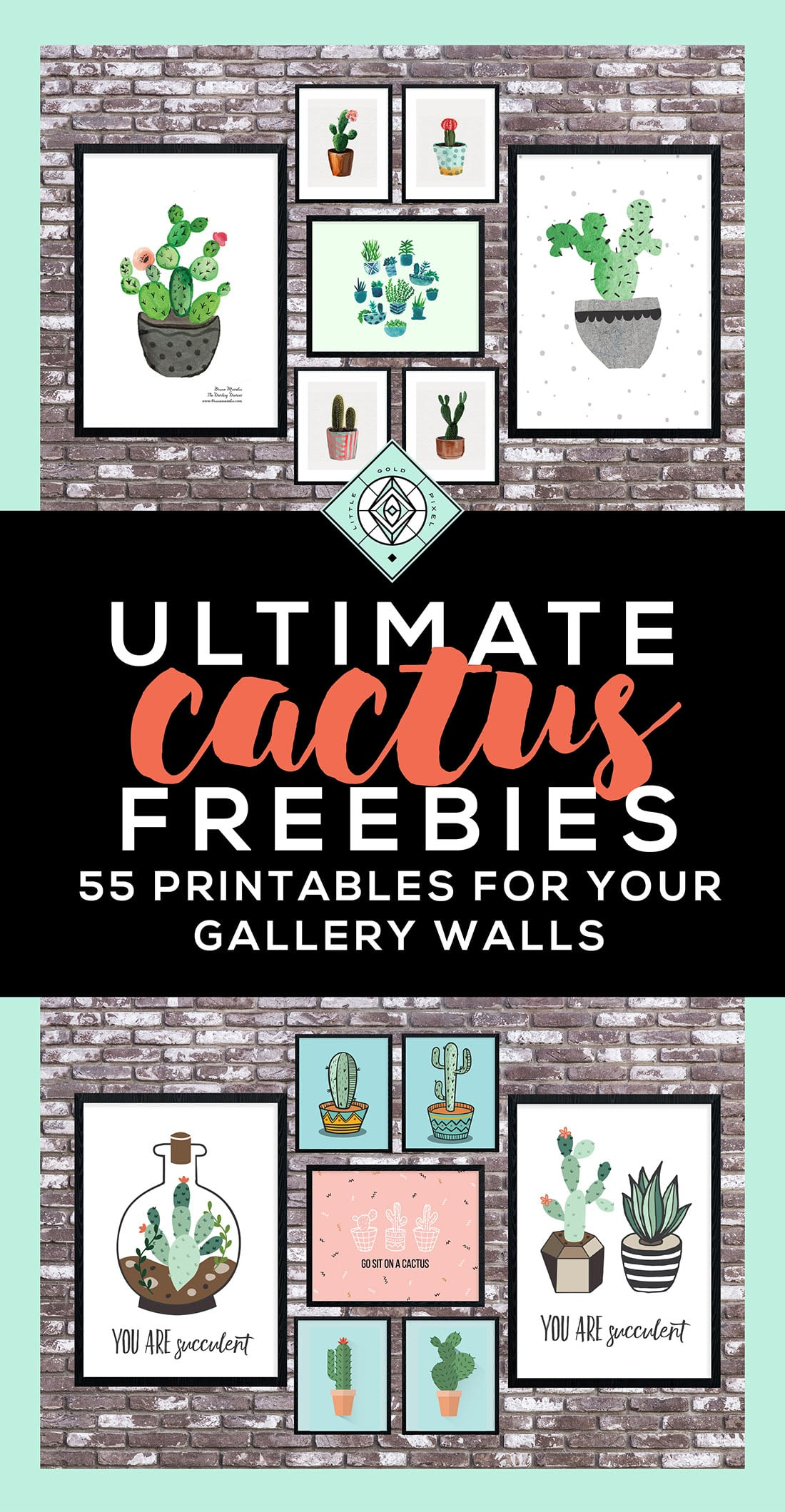 Cactus Free Printables Pinterest Little Gold Pixel
