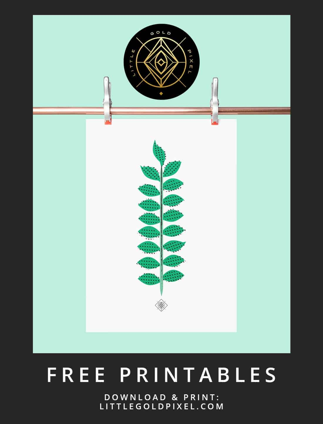 Scandi Leaf Free Printable Freebie Fridays Little Gold Pixel