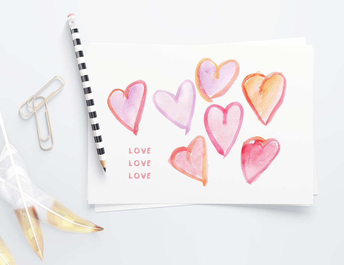 free watercolor hearts clip