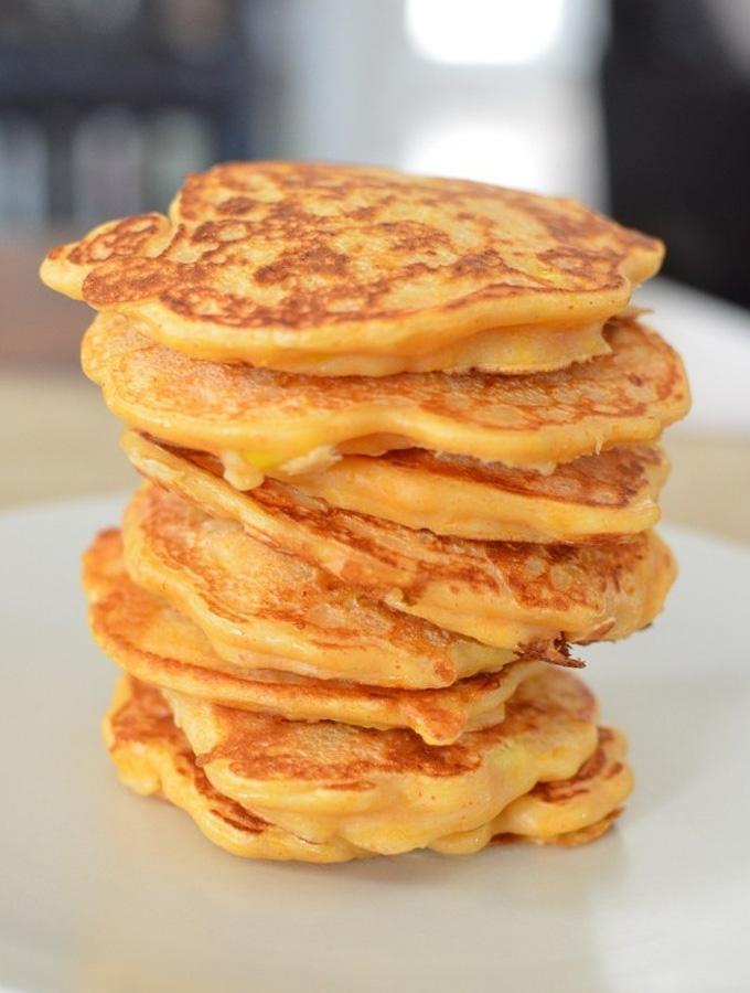 butternut squash and sweetcorn pancake stack
