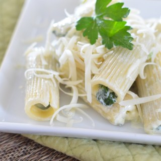 Rigatoni Stuffed with Spinach and Cream Cheese