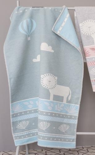 David-Fussenegger-grey-blue-lion-safari-Baby-Bassinette-Blanket