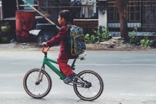 Local child on a bike