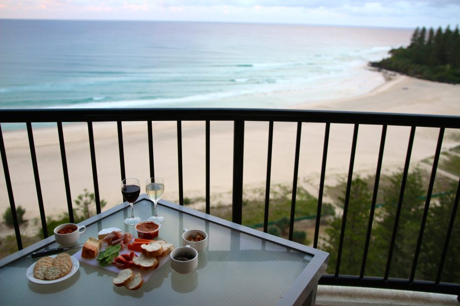 Cheese platter and view