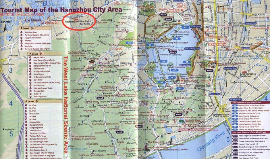 Hangzhou Tourist Map West Bus Station to Huangshan