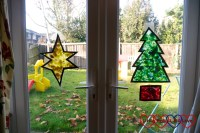 """Tissue paper """"stained glass"""" Christmas decorations ..."""