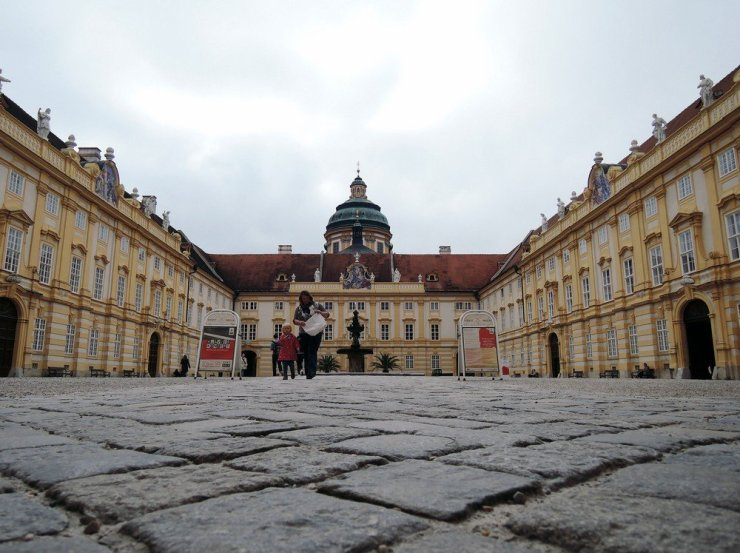 Melk Abbey (or Stift Melk) is an 11th century baroque Benedictine abbey with modern art collections, manicured gardens, and a view of the Danube river.