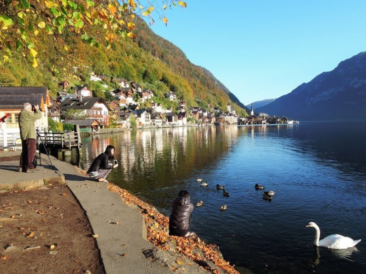 The view of Hallstatt from the south end of the town.