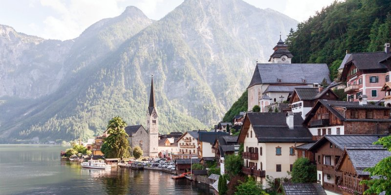 A postcard-perfect photo of Hallstatt, Austria's most beautiful town.