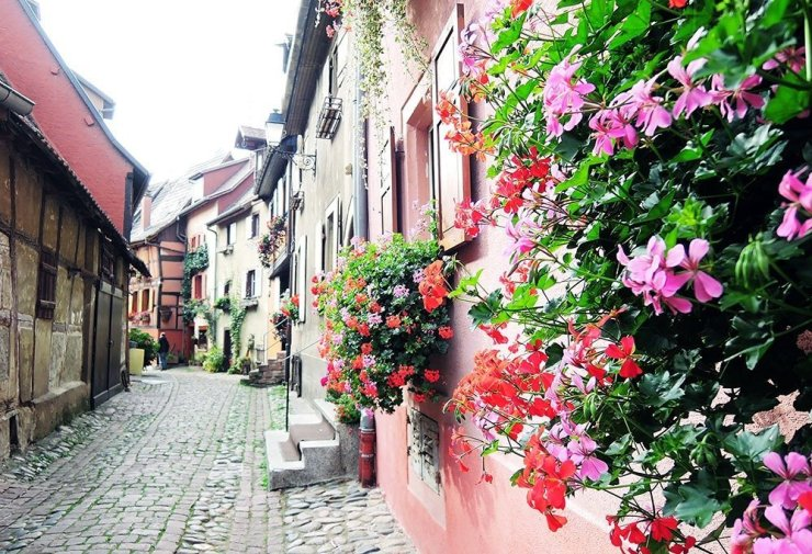 For a quieter, less crowded version of Colmar, head to Eguisheim, the cradle of Alsatian wine. A quick circuit of its main avenue will bring you past traditional Alsatian houses, a charming dovecote, a medieval town square, and a handful of pastry shops.