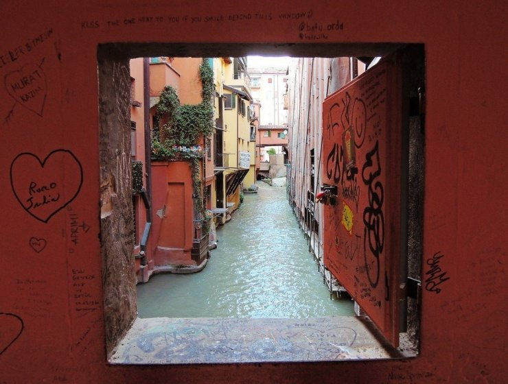 The Finestrella – a small but famous window that overlooks Bologna's old canal system. Find this in La Piccola Venezia in this 3-day guide to Bologna.