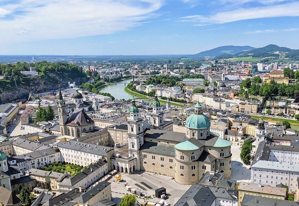 End your first day in Salzburg with a trip up Mönchsberg, where you can enjoy fantastic views of the city.