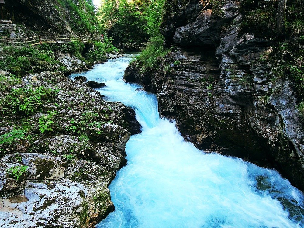 Slovenia's best sights – visit Vintgar Gorge, a ravine that's a short drive from Lake Bled. Walk along the river's spectacular emerald waters past plenty of small waterfalls and rapids. It's a relaxing walk in one of Slovenia's beautiful nature spots.