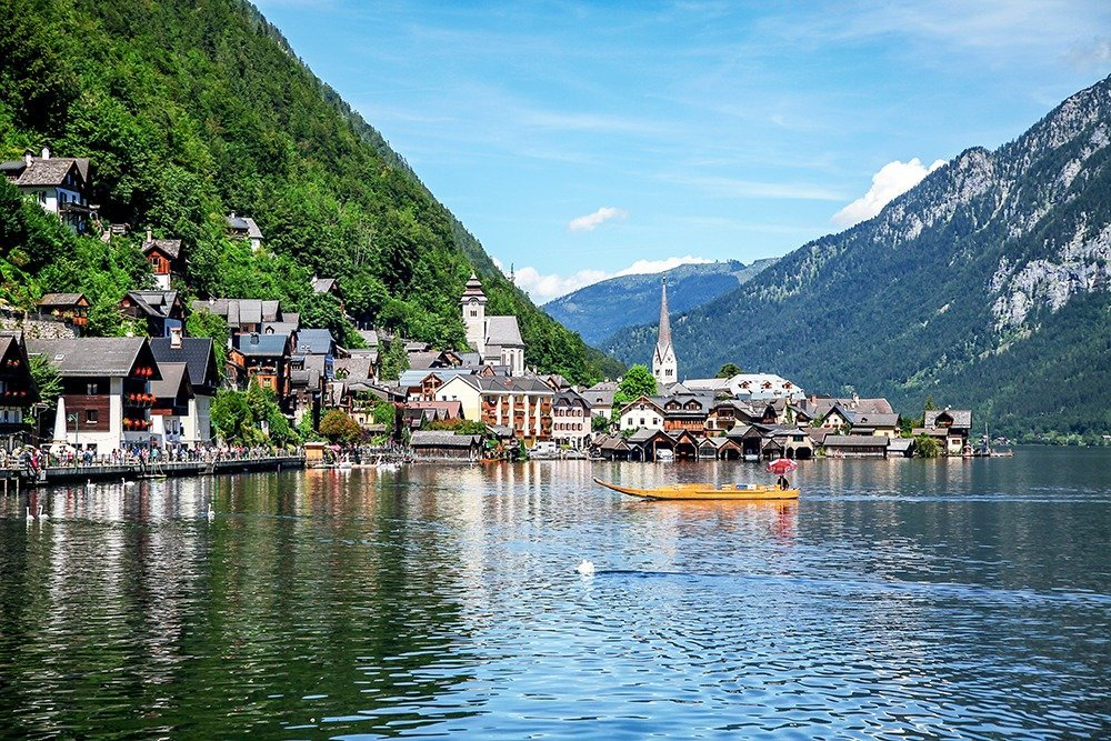 Hallstatt travel guide - The view of Hallstatt from the south end of the town.
