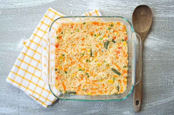 These Cheesy Rice and Vegetables make an easy side dish or a quick lunch that is sure to please! You can even make it with leftover rice!