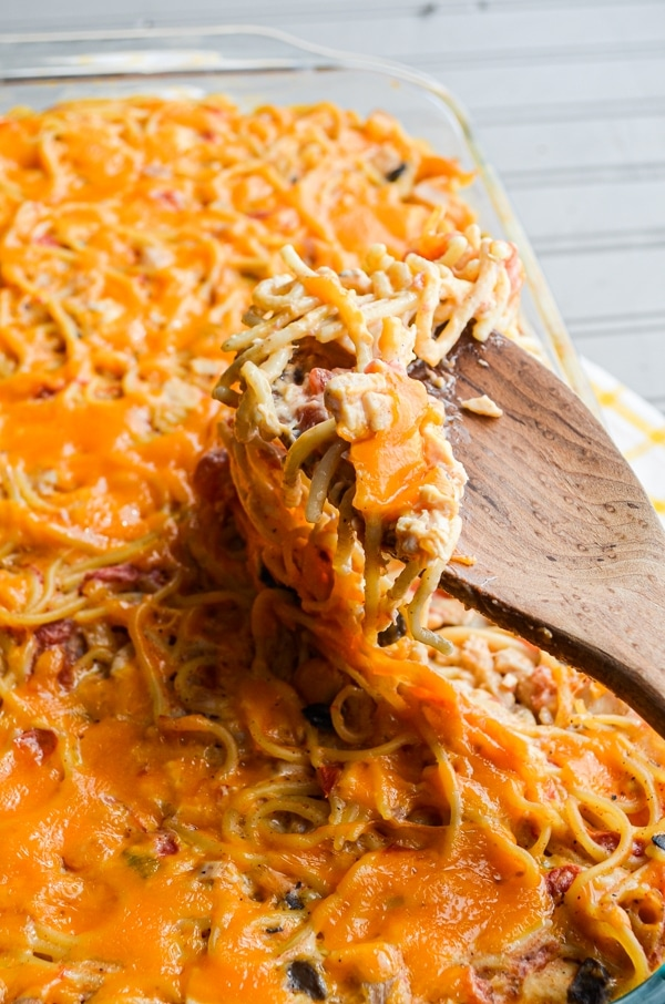 Chicken Spaghetti is a timeless comfort classic casserole. This is my spin on it, using just a little kick from Ro*Tel Tomatoes and chilies.