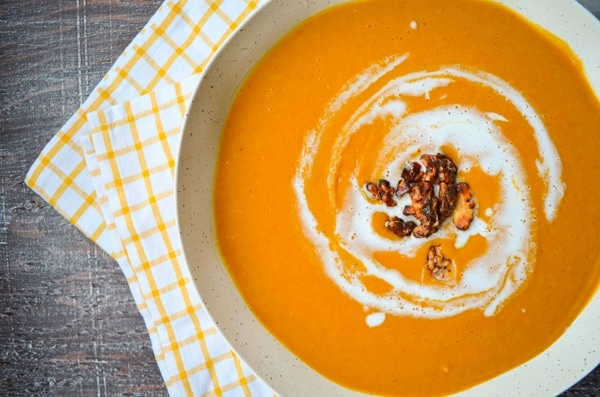 The Instant Pot makes easy work of cooking butternut squash to perfection, resulting in a delicious and creamy soup sweetened with maple syrup. Instant Pot Butternut Squash Soup is perfect for those chilly winter nights. Healthy comfort food at its best! A delicious meatless, refined sugar free, whole food recipe the whole family will love.