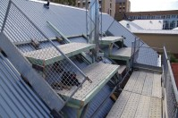 We set up purpose built scaffold on the roof to create a work platform