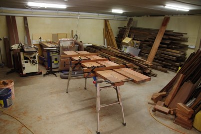 Laminating timber to make a door frame